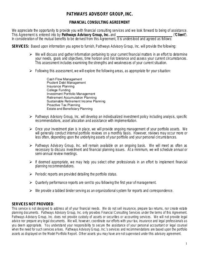Financial consulting agreement