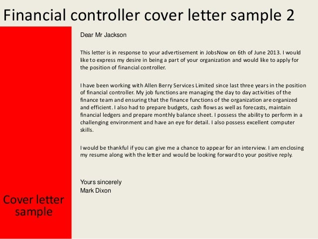 ... Cover Letter Sample Yours Sincerely Mark Dixon; 3. Financial Controller  ...