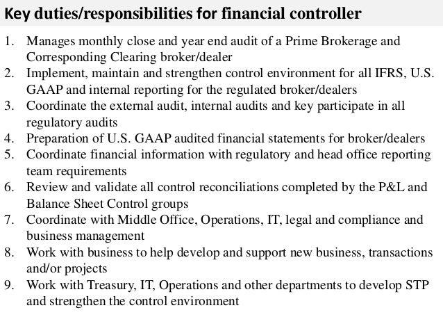Controller Job Description   Controller Job Description Duties 9 6 Sayedbrothers Nl