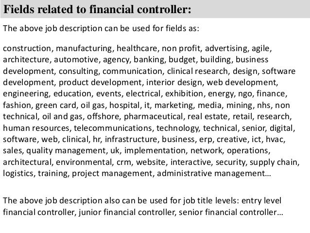 Controller Job Description Fields Related To Financial Controller