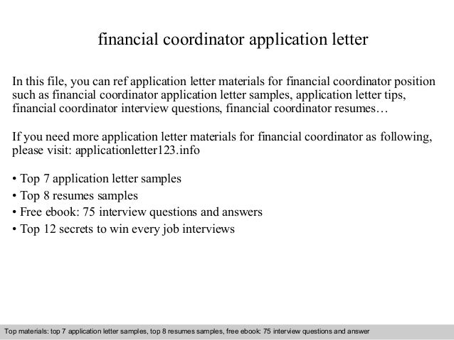 Financial Coordinator Application Letter In This File, You Can Ref  Application Letter Materials For Financial Application Letter Sample ...