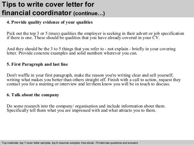 4 tips to write cover letter for financial coordinator