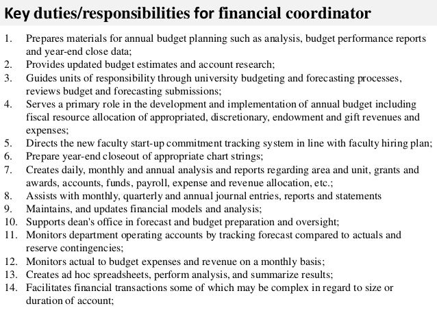 Financial Coordinator Job Description