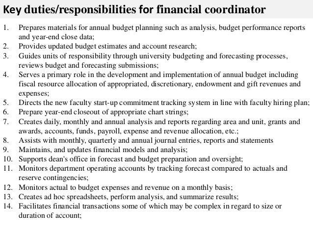 Superb ... 2. Key Duties/responsibilities For Financial Coordinator ...