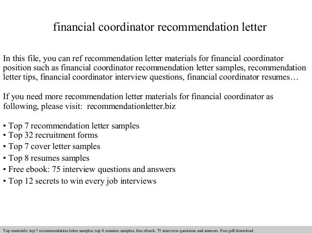 Financial Coordinator Recommendation Letter In This File, You Can Ref  Recommendation Letter Materials For Financial Recommendation Letter Sample  ...