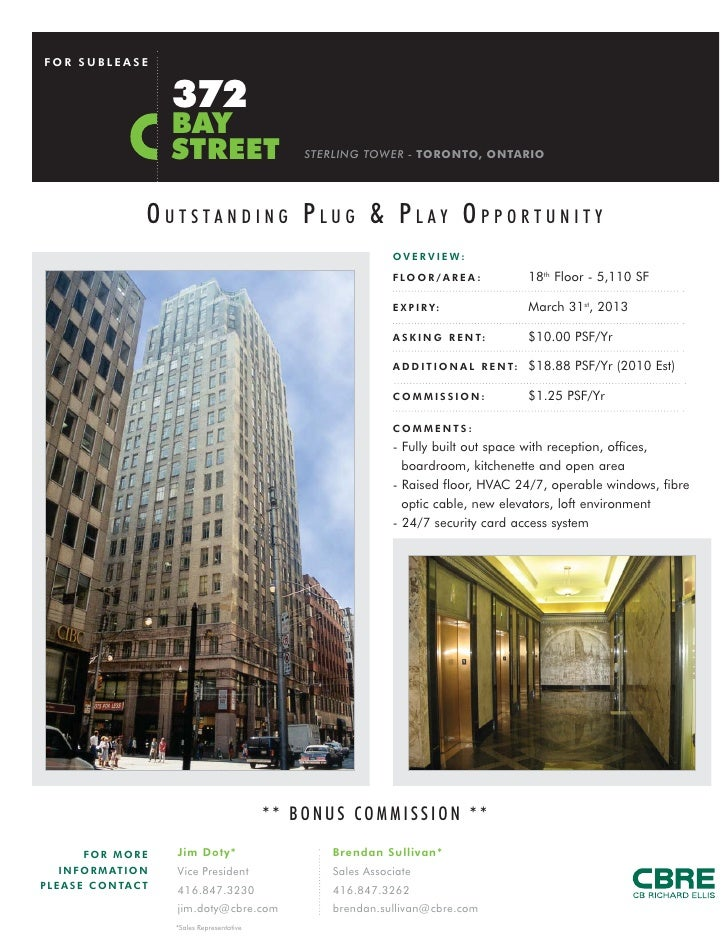 FOR SUBLEASE                            372                            BAY                            STREET              ...