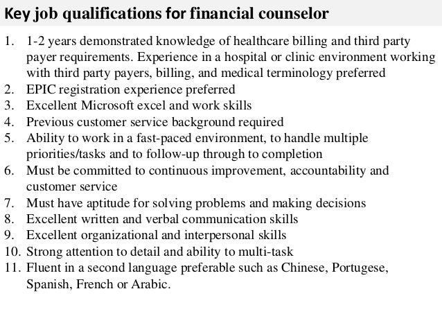 3. Key Job Qualifications For Financial Counselor ...