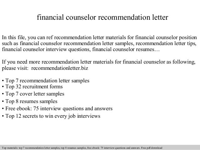 Financial Counselor Recommendation Letter