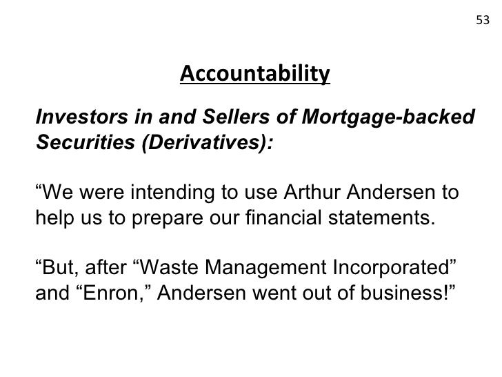 a review of enron and andersen In light of the arthur andersen and enron case as well as  corporations should review federal and state law and regulations and establish affirmative requirements.