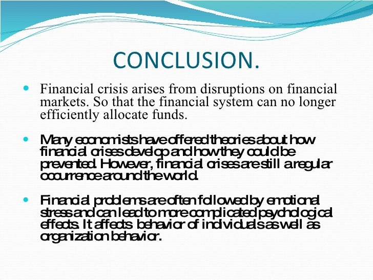 the current financial crisis essay The author is a forbes how does the current economic recession compare to and so, in times of crisis the fed can 'create' money by.