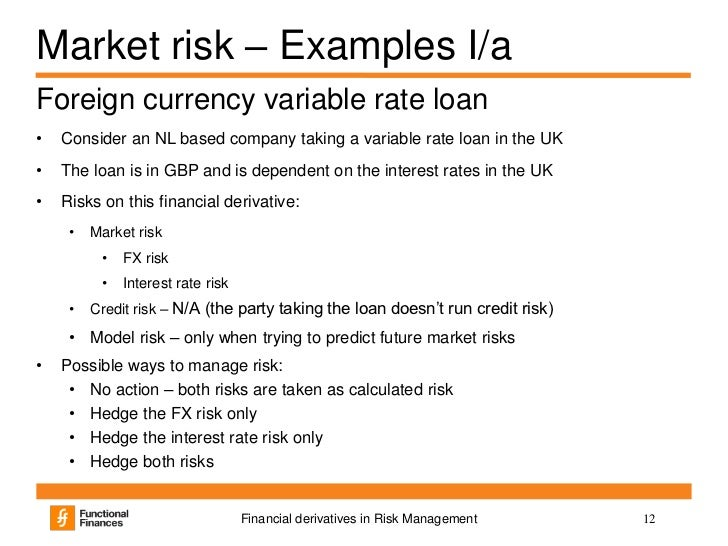 derivatives financial risk A major reason this danger is built into derivatives is because of something called counter-party risk most derivatives are based on the person or institution on the other side of the trade being able to live up to the deal that was struck.
