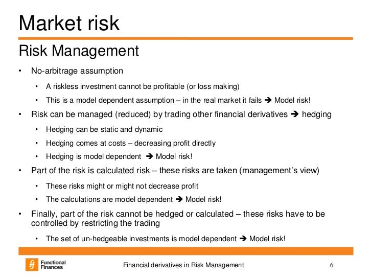 derivatives financial risk Financial derivatives served a useful purpose in fulfilling risk management objectives through derivatives, risks from traditional instruments can be efficiently unbundled and managed independently.