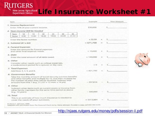 Financial Education Boot Camp Slides073014 – Life Insurance Needs Analysis Worksheet
