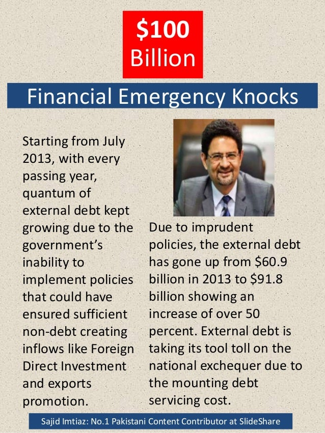 Financial Emergency Knocks Starting from July 2013, with every passing year, quantum of external debt kept growing due to ...