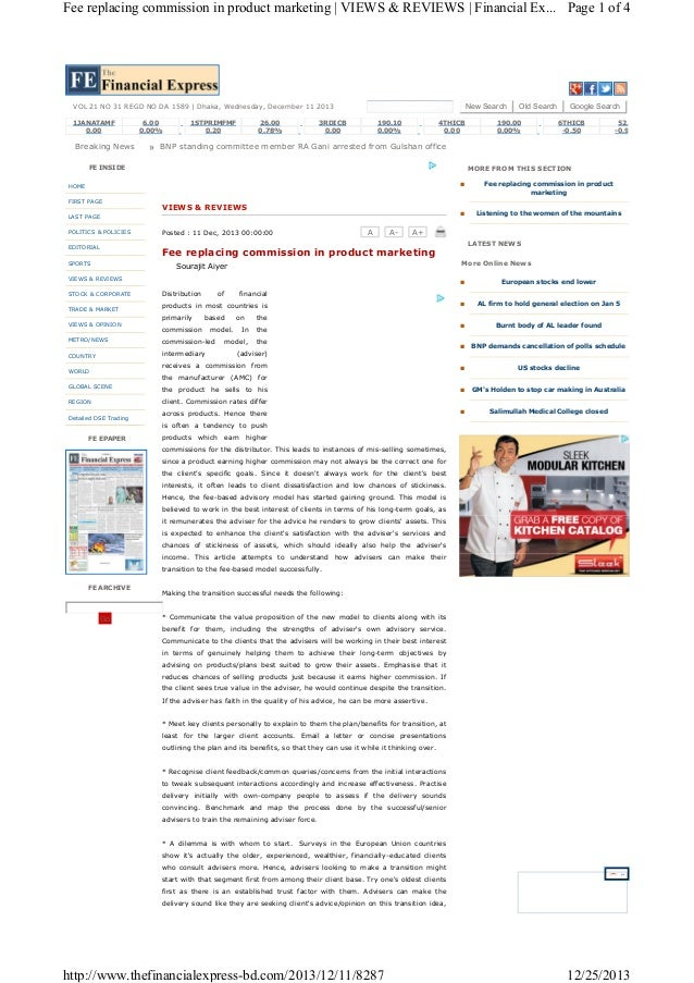 Fee replacing commission in product marketing | VIEWS & REVIEWS | Financial Ex... Page 1 of 4  New Search  VOL 21 NO 31 RE...