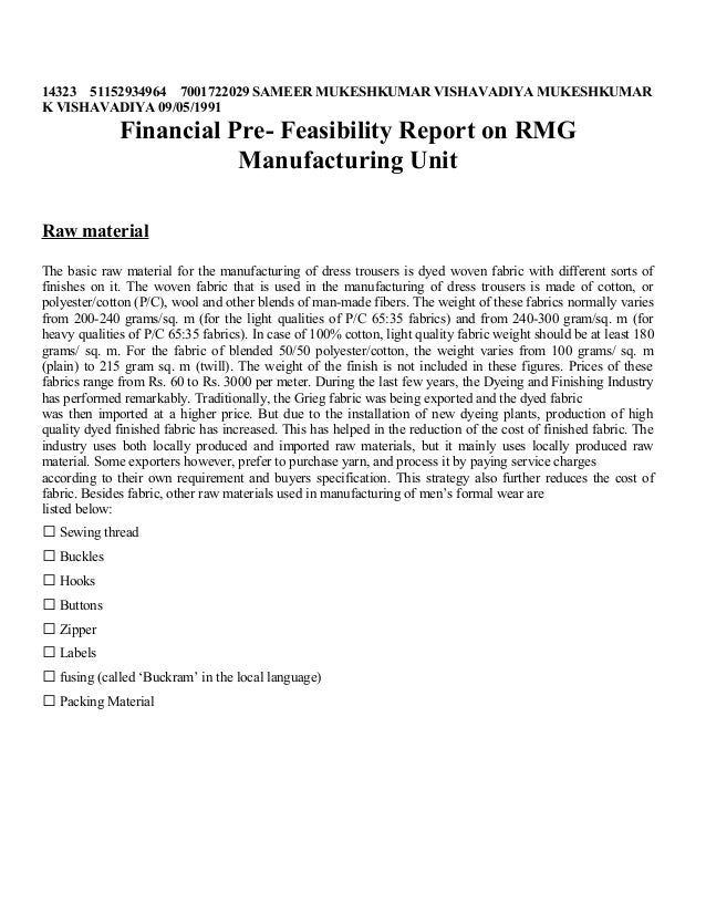 Financial Feasibilty Report Of Readyment Garment
