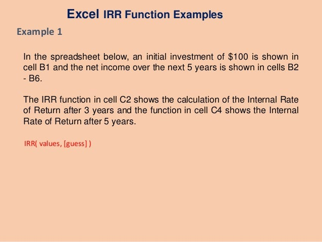 Excel irr values guess examples
