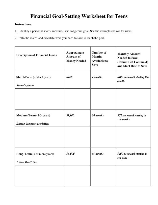 Printables Financial Goal Setting Worksheet financial goal setting worksheet for teens instructions 1 identify a personal short