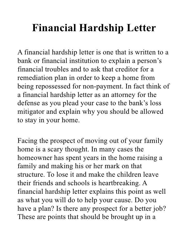 Superior Financial Hardship LetterA Financial Hardship Letter Is One That Is Written  To Abank Or Financial Institution ...