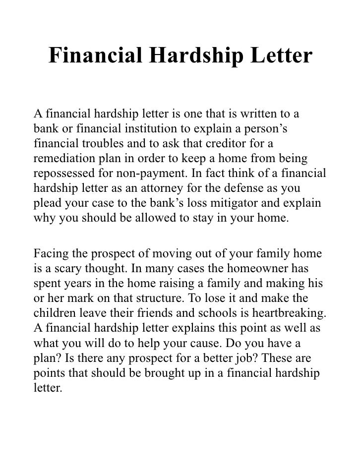 Financial Hardship LetterA Financial Hardship Letter Is One That Is Written  To Abank Or Financial Institution ...