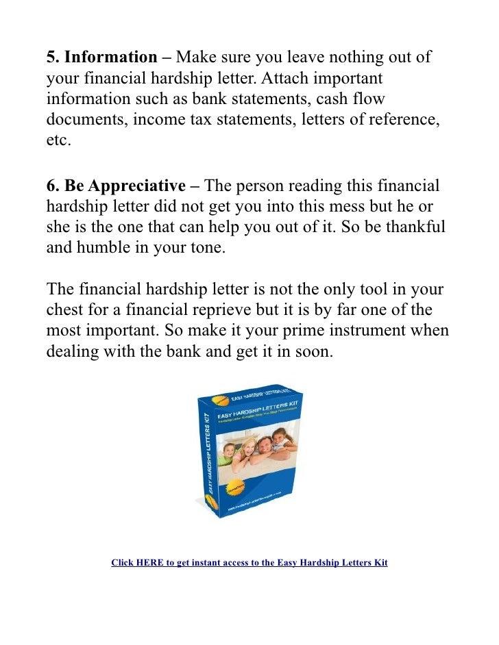Financial hardship letter – Financial Hardship Letter