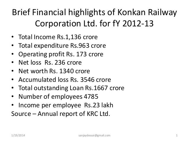 Brief Financial highlights of Konkan Railway Corporation Ltd. for fY 2012-13 • Total Income Rs.1,136 crore • Total expendi...