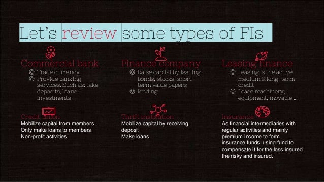 Let's review some types of FIs Commercial bank ◎ Trade currency ◎ Provide banking services. Such as: take deposits, loans,...