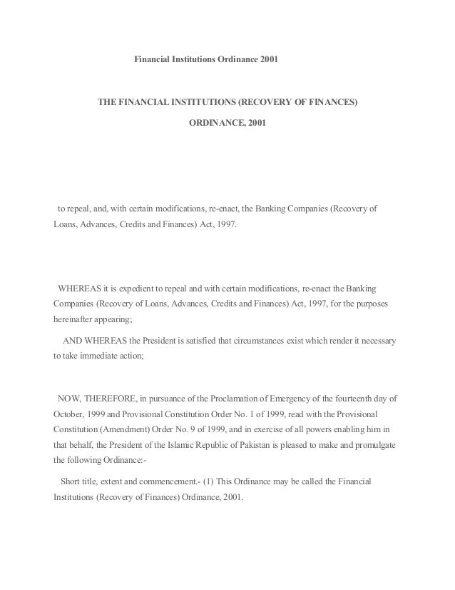 Financial Institutions Ordinance 2001            THE FINANCIAL INSTITUTIONS (RECOVERY OF FINANCES)                        ...