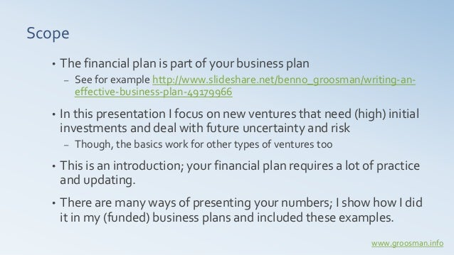 Financial investment plan for new ventures