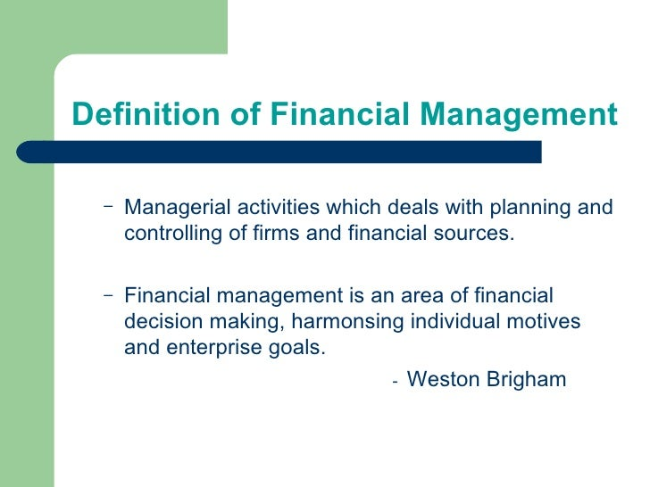 what is a financial management