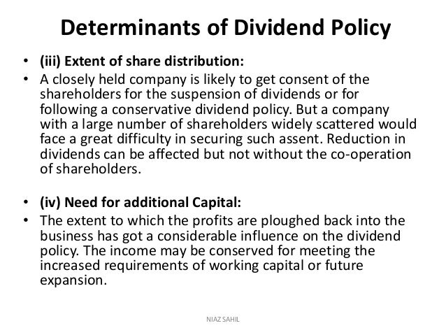 determinants of divident policy of corporate enterprises Ratio, and business risk) have lower importance in explaining dividend policy   determinants for these companies and in particular the validity of the agency.