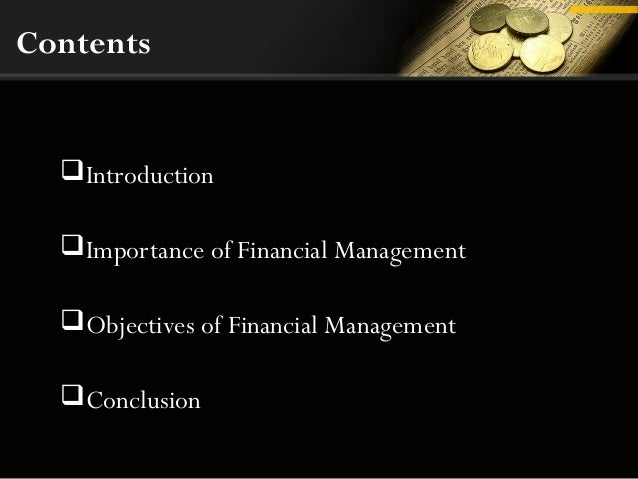 importance of financial management Home / financial management the importance of saving money we save, basically, because we can't predict the future saving money can help you become financially.