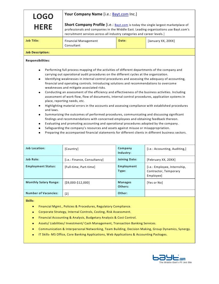 financial management consultant job description template