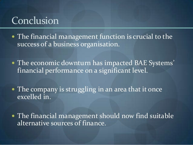 Financial Management Function Bae System Plc
