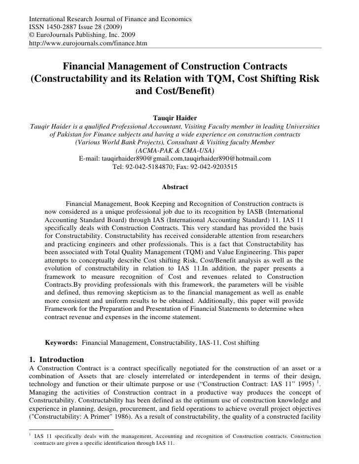 Financial management of construction contracts for Home builder contracts
