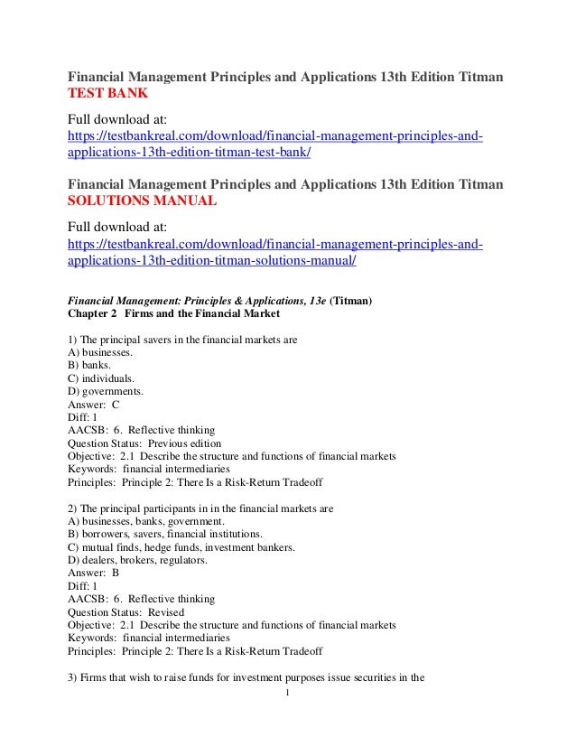 financial management principles and applications 13th edition titman rh slideshare net Types of Financial Institutions Financial Institution Logos