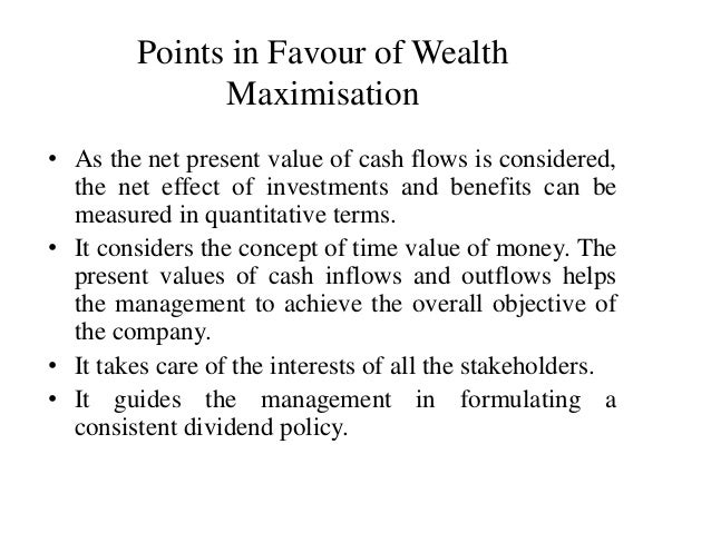 is profit maximization consistent with wealth maximization finance essay View this essay on profit maximization i do not think it is necessary to have a single-valued objective function maximizing firm value is not mutually exclusive.