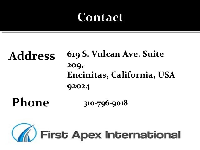 Address Phone 619 S. Vulcan Ave. Suite 209, Encinitas, California, USA 92024 310-796-9018