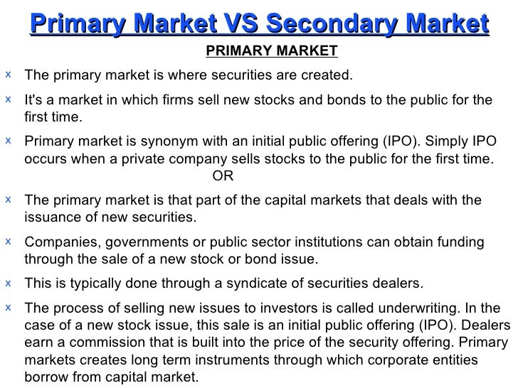 Ipo primary vs secondary market