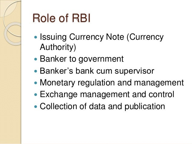 role of rbi in financial system 7 major functions of reserve bank of india as a regulator and su­pervisor of the country's financial system, the rbi prescribes the broad parameters of bank.