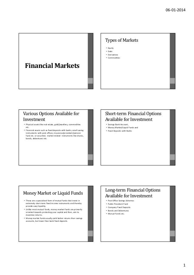 06-01-2014  Types of Markets • • • •  Equity Debt Derivatives Commodities  Financial Markets  Various Options Available fo...