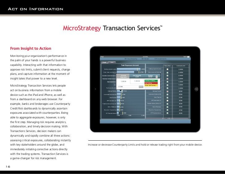 Act on Information                                               MicroStrategy Transaction Services™ From Insight to Actio...