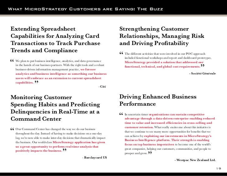 What MicroStrategy Customers are Saying: The BuzzExtending Spreadsheet                                                    ...
