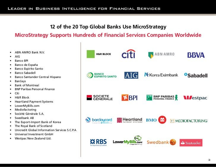 Leader in Business Intelligence for Financial Services                              12 of the 20 Top Global Banks Use Micr...
