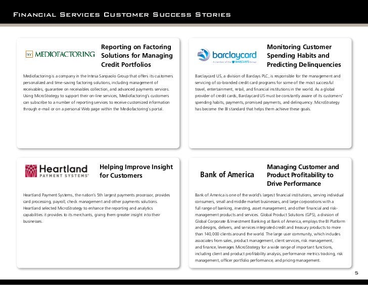Financial Services Customer Success Stories                                                Reporting on Factoring         ...