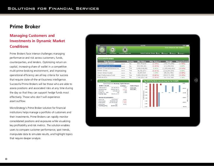 Solutions for Financial Services    Prime Broker    Managing Customers and    Investments in Dynamic Market    Conditions ...
