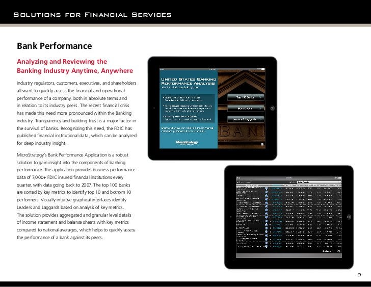 Solutions for Financial ServicesBank PerformanceAnalyzing and Reviewing theBanking Industry Anytime, Anywhere             ...