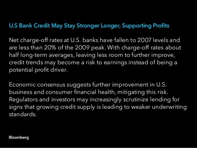 U.S Bank Credit May Stay Stronger Longer, Supporting Profits Net charge-off rates at U.S. banks have fallen to 2007 levels...