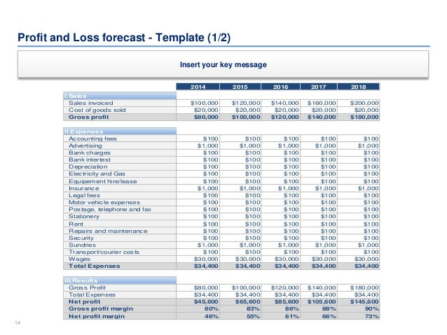 Financial Plan Template – Profit and Loss Forecast Template