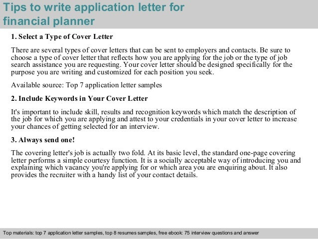 Financial planner application letter
